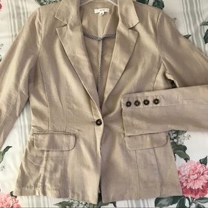 mine Jackets & Coats - Mine khaki linen blazer